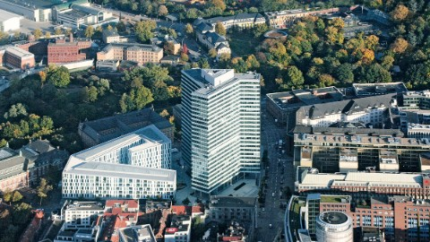 Aerial photograph of the headquarters of Union Investment in Hamburg